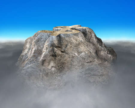 financial cliff: Money symbol shape rocky mountain with cloudy below and blue sky