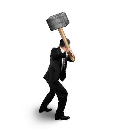 Businessman holding big hammer isolated in white background
