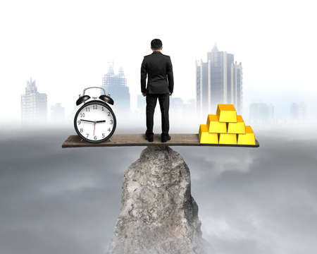 Standing and balancing with clock and bullion with cloudy and city view