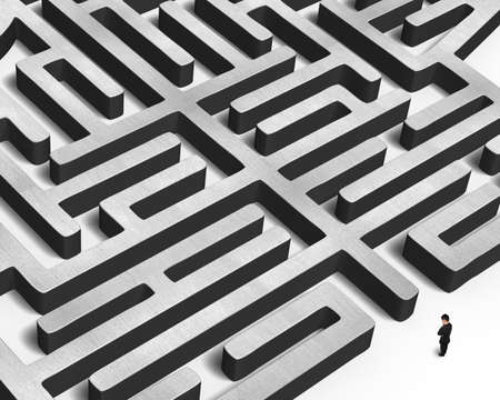 Man facing huge concrete maze isolated in white background photo