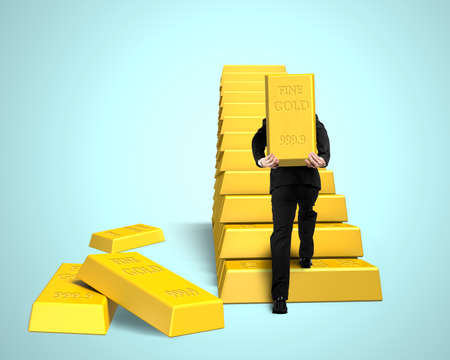 stacking: Businessman carrying bullion for stacking