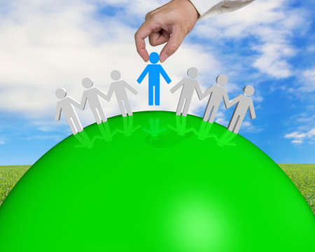 group of 3D people connecting on green ball with nature background photo