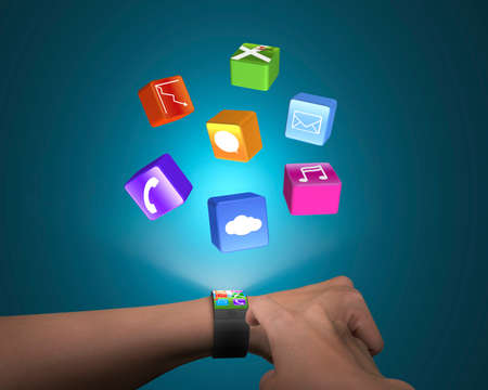 hand touch ultra-thin smart watch with apps and blue background photo