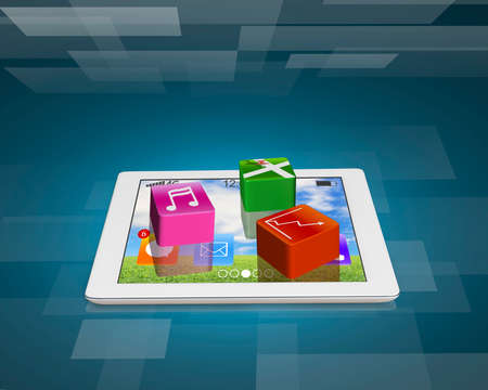 application software icons on tablet with tech digital background photo