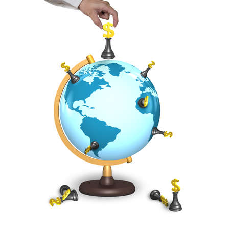hand holding chess with terrestrial globe isolated on white photo