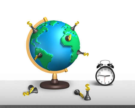 dollar chess stand on 3d map terrestrial globe with alarm clock and white wall photo