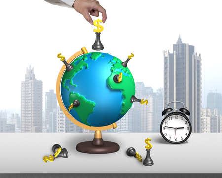 hand hold dollar chess on 3d map terrestrial globe with alarm clock and city skyscraper photo