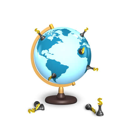 global retirement: dollar chess stand on terrestrial globe isolated on white
