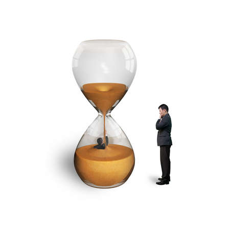 oversee: manager oversee employee flooded in hourglass