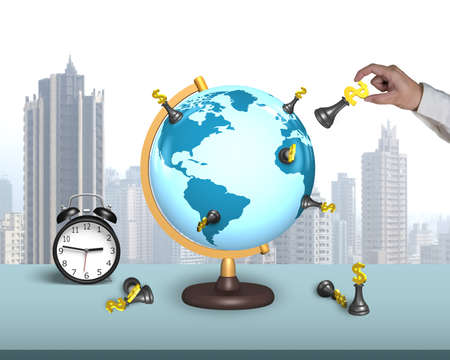 managing money: hand hold dollar chess on terrestrial globe with alarm clock and city skyscraper background Stock Photo