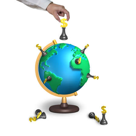 hand holding chess with 3d map terrestrial globe isolated on white photo