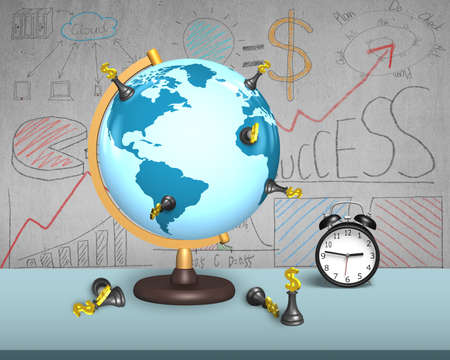 dollar chess stand on terrestrial globe with alarm clock and doodles wall photo