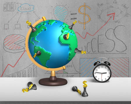 terrestrial globe: dollar chess stand on 3d map terrestrial globe with alarm clock and doodles wall