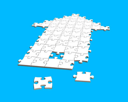 puzzles in arrow shape isolated on blue photo
