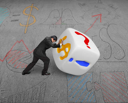businessman rolling white dice with dollar sign on doodles floor photo