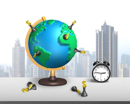 dollar chess stand on 3d map globe with clock and city skyscraper background photo