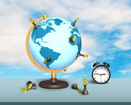 terrestrial globe: dollar chess on terrestrial globe with alarm clock and sky background Stock Photo