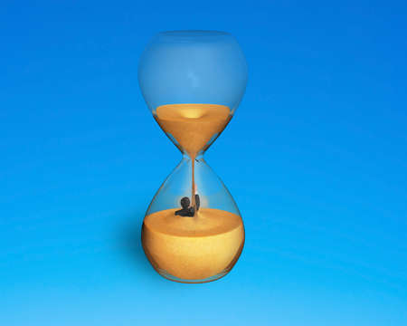 man was flooded in sand clock isolated on blue photo
