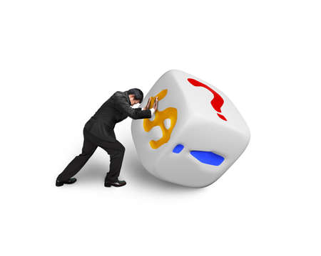 man pushing white dice with dollar sign isolated on white photo