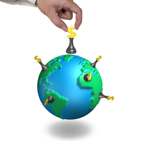hand hold money chess stand on 3d map globe isolated on white photo