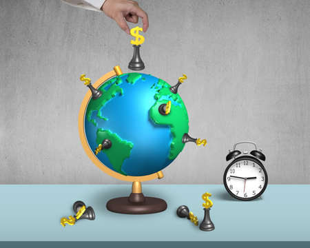 hand holding dollar chess on 3d map terrestrial globe with alarm clock and concrete wall photo