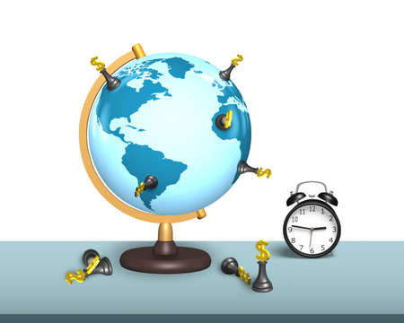 global retirement: dollar chess stand on terrestrial globe with alarm clock and white wall