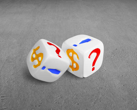 two dices with dollar sign on concrete floor photo