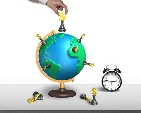 hand hold dollar chess on 3d map terrestrial globe with alarm clock and white wall photo