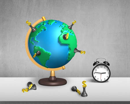 dollar chess stand on 3d map terrestrial globe with clock and concrete wall photo