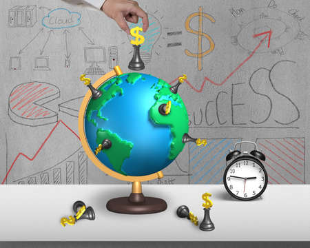 hand holding dollar chess on 3d map terrestrial globe with alarm clock and doodles wall photo