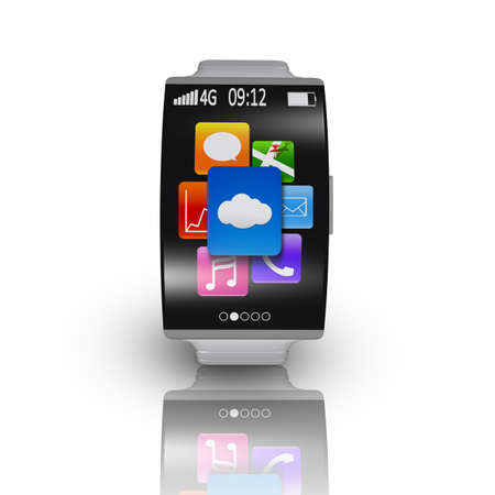 ultra-thin curved screen smartwatch with metal watchband isolated on white