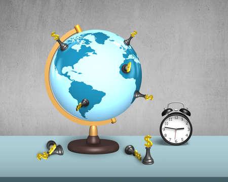 global retirement: dollar chess stand on terrestrial globe with clock and concrete wall