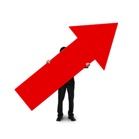 business man holding red arrow sign isolated on white photo