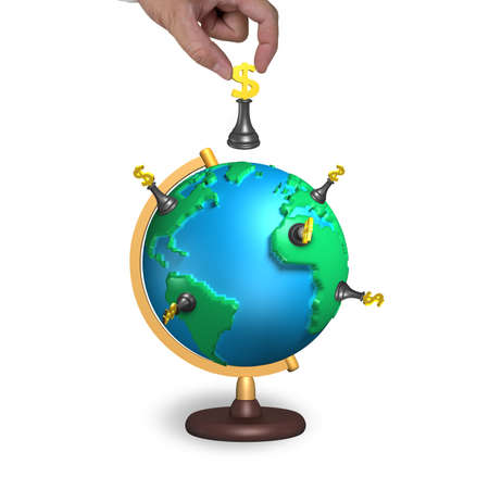 hand hold chess with 3d map terrestrial globe isolated on white photo