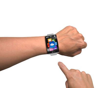 man finger point app icons of smartwatch with curved screen and metal watchband isolated on white photo