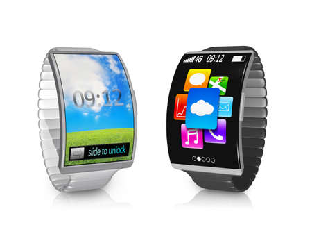 wireless connection: pair ultra-thin bent interface smartwatch with metal watchband colorful screen isolated on white background