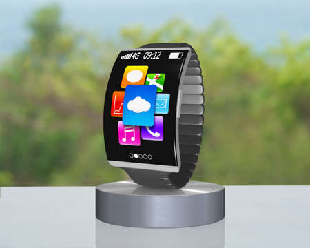 dark gray curved screen smartwatch on showcase with metal watchband and nature background photo