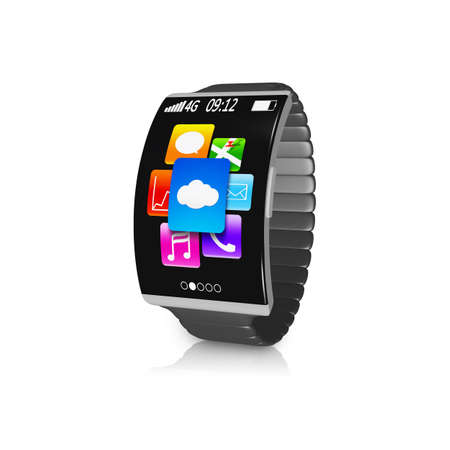 ultra-thin black curved screen smartwatch with metal watchband isolated on white photo