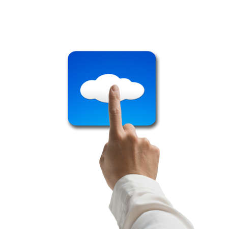 human hand touching app cloud icon isolated on white background photo