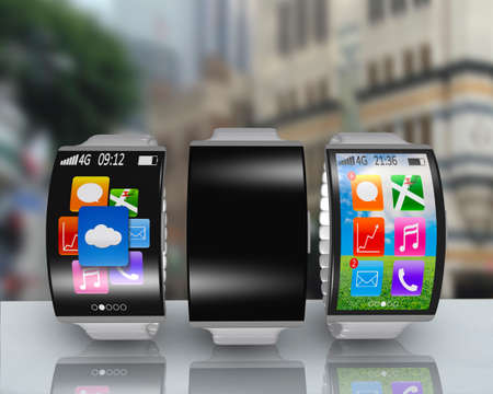 group of ultra-lightweight curved screen smartwatch with steel watchstrap on desk and street background photo
