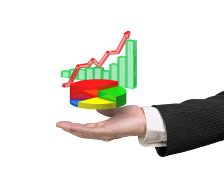 financial performance: right hand holding 3d infographics overlapped isolated on white background, including colorful pie chart, green bar chart, red trend line