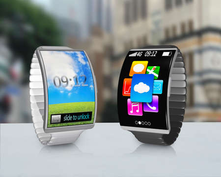 couple ultra-thin curved screen smartwatch with metal watchband colorful screen on desk and street background photo