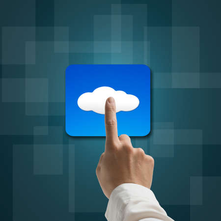 index finger touching cloud app icon on tech background photo