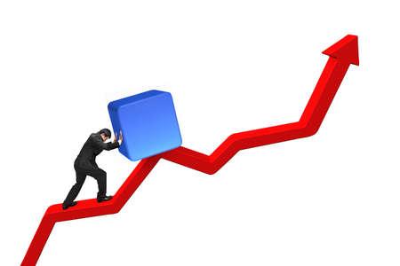 upward struggle: businessman pushing blue 3D cube upward on red trend line isolated on white background