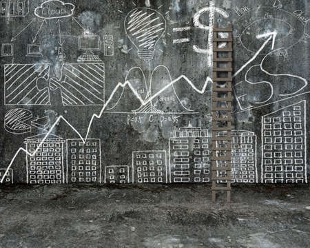 stepladder: business concept doodles hand drawn with wooden stepladder on old dirty concrete wall and mottled cement floor background Stock Photo