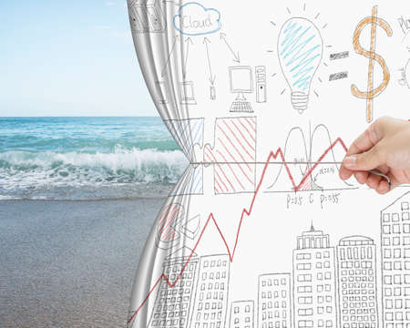 concep: hand pulling business chart doodles curtain discovered natural sandy beach background, free time concep