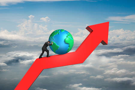 businessman push globe upward on red trend line with cumulus cloudscape background photo