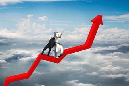 upward struggle: businessman push 3D dollar sign upward on red trend line with cumulus cloudscape background
