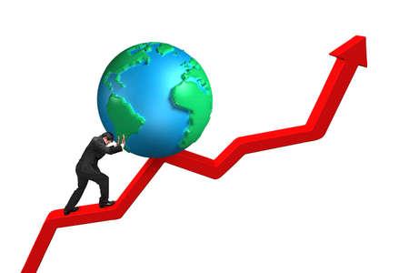 upward struggle: businessman pushing globe upward on red trend line with white background