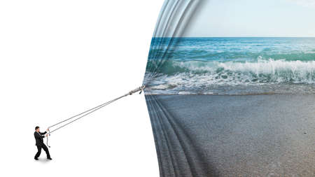 liberate: businessman pulling open sea sandy beach curtain covered blank behind isolated on white background